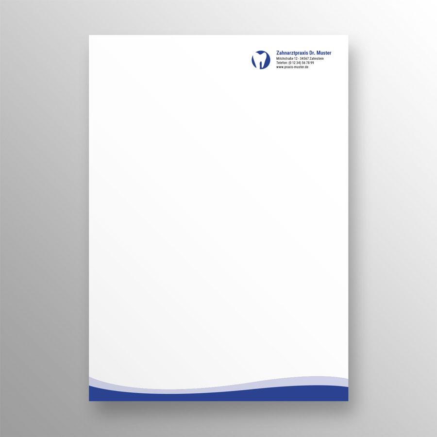 Briefpapier 1-seitig wave blau