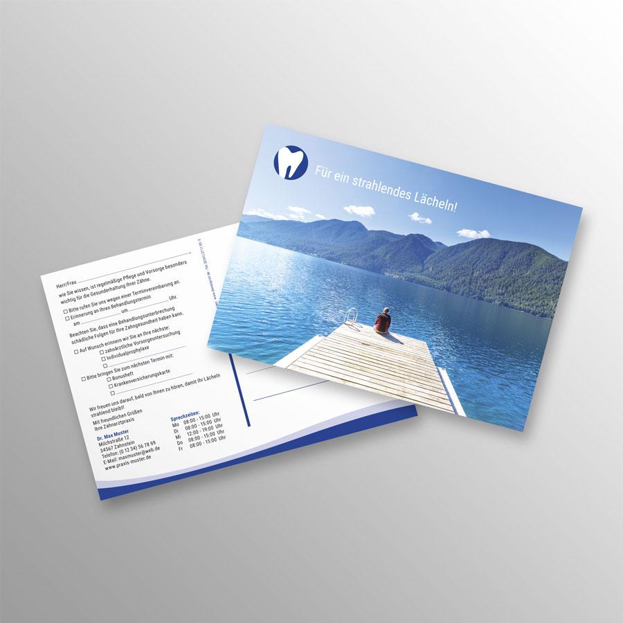 Recallkarten A6 Zahnarzt blau wave