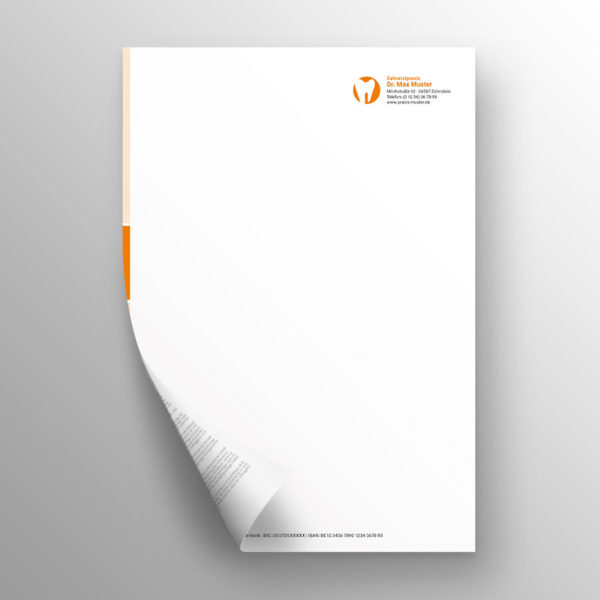 Briefpapier 2-seitig blocks orange