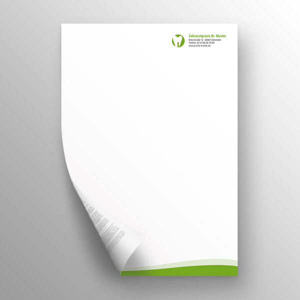 Briefpapier 2-seitig waves apfelgrün