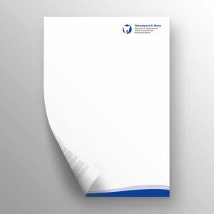 Briefpapier 2-seitig waves blau